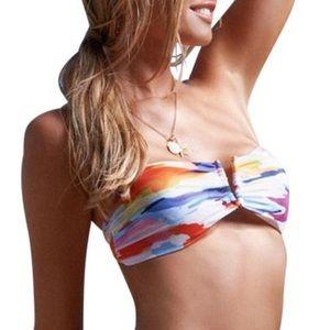 L*Space Multi-color Watercolor Tie Back Bikini Top